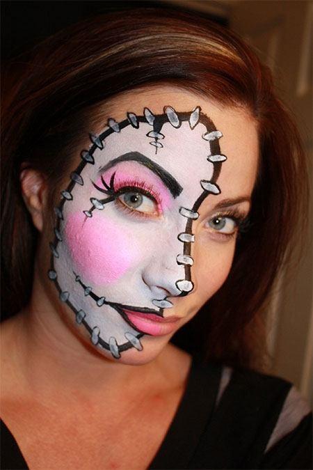 Maquillaje halloween media cara tutorial con el paso a - Pintura cara halloween ...