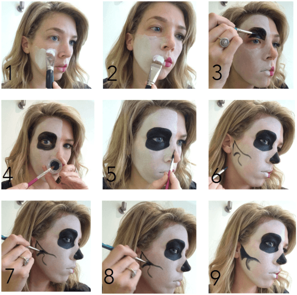 Makeup-halloween-half-face-step-by-step