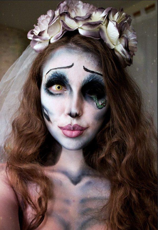 maquillaje-halloween-novia-cadaver-ojo-gusano