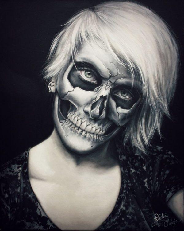The-makeup-halloween-skeleton-effect-3d