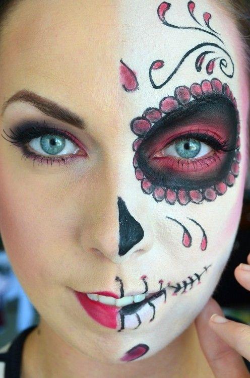 Maquillaje Halloween Media Cara Tutorial Con El Paso A Paso