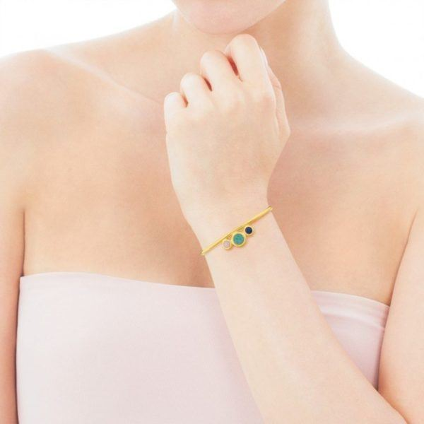 01a57c6f9d Para ella, esta esclava Alecia de Plata Vermeil con Amazonita, Ópalo rosa y  Cuarzo con Dumortierita. Todo en una sola pulsera.