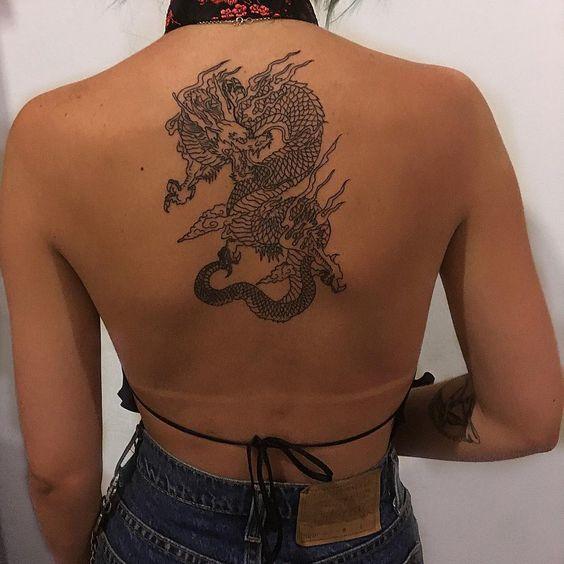 Tatuaje de dragón espalda