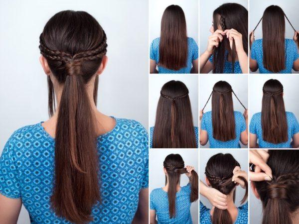 Peinados modernos mujer trenza coleta