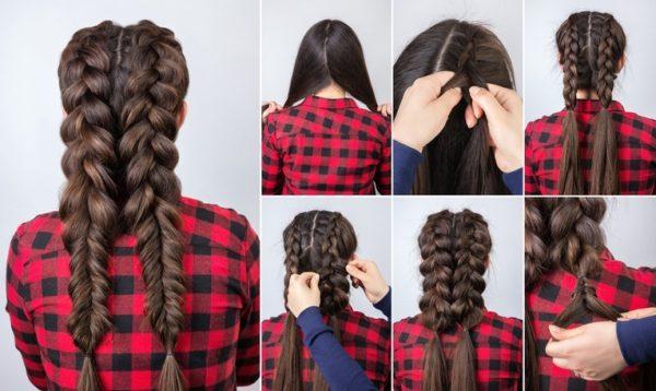 Peinados modernos mujer trenzas gruesas