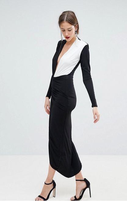 Vestido blanco y negro para boda de dia