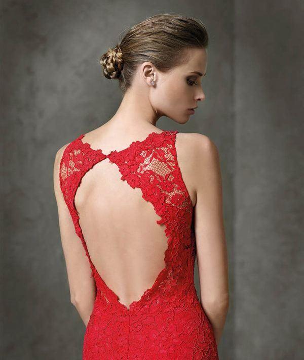 Vestido Corto Rojo Largo Con Encaje