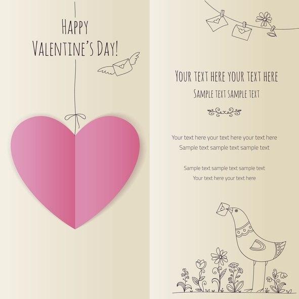 Tarjetas de amor para san valentin con corazones