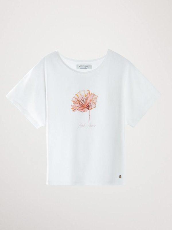 Camiseta de algodón con una flor
