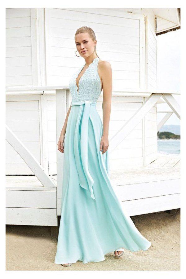 Vestido MISS Sonia Peña Largo Encaje y Gasa