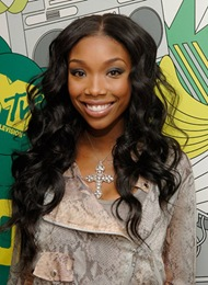 "Brandy visits MTV's ""TRL"" at MTV studios on October 29, 2008 in"