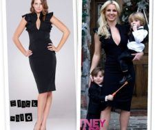 Britney Spears con un vestido Black Halo Keyhole Ruffle Dress