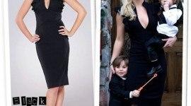 Britney Spears con un vestido Black Halo Keyhole Ruffle Dress