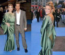 Kate Hudson impactó con un vestido de seda verde