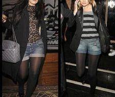 Tendencia: shorts de jean y medias negras